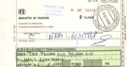 Antico Biglietto Ferrovie Dello Stato Da Palermo A Bologna - 1982 - Europa