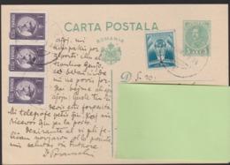 AKRO Romania Postal Stationery King Carol II With Mi 427 & Z15 Aviation Tax - Cancelled In Cluj In 1934 Esperanto - Roemenië