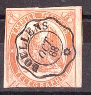 1868 - Timbre-Télégraphe N° 3 (non Dentelé) - Oct 1868 Doullens - Télégraphes Et Téléphones