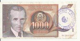 BOSNIE HERZEGOVINE 1000 DINARA ND1992 VF P 2 A - Bosnia Erzegovina