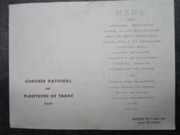 CONGRES NATIONAL Des PLANTEURS De TABAC - Menu Du Banquet Au Palais Des Congrès De ROYAN - Tabac (objets Liés)
