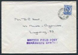 "1967 GB Field Post Office FPO 841 Cover. ""Ermassigte Gebunr"" Germany - 1952-.... (Elizabeth II)"