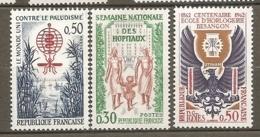 1962 Yv. N° 1338,1339, 1342   ** MNH  Paludisme,hôpitaux,horlogerie  Cote  1,5  Euro TBE - Frankreich