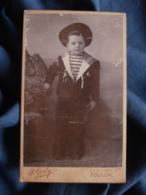 Photo CDV B. Gerby à Toulon - Jeune Garçon En Costume Marin (militaire) Avec Bachi  Circa 1895 L469 - Photos