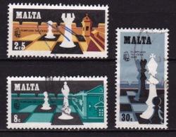 MALTA 1980 Chess Olympics Complete Used Set Michel 621 / 623 - Schaken