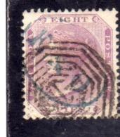 INDIA INDE 1860 1864 QUEEN VICTORIA REGINA VITTORIA EIGHT ANNAS 8a LILAC BLUISH USED USATO OBLITERE' - 1858-79 Compañia Británica Y Gobierno De La Reina