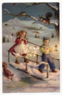 Nouvel An --Bonne Année--1952--Paysage De Neige ,enfant Et Fillette ,lanterne,écueuils Et Oiseaux (animée) - Año Nuevo