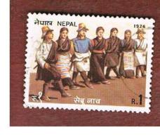 NEPAL  -  SG 338   - 1976  NATIONAL DANCES: SEBRU     -  USED ° - Nepal
