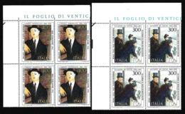 1984 Italia Italy Repubblica ARTE ITALIANA: DE NITTIS, MODIGLIANI 4 Serie Di 2v. Quartina MNH** Bl.4 - 1981-90: Mint/hinged