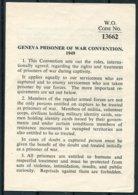 GENEVA PRISONER OF WAR CONVENTION 1949. British WAR OFFICE (1962?) Document - Decrees & Laws