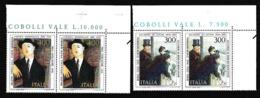 1984 Italia Italy Repubblica ARTE ITALIANA: DE NITTIS, MODIGLIANI 2 Serie Di 2v. Coppia MNH** - Modern