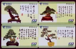 F02062 China Phone Cards Bonsai 4pcs - Fleurs