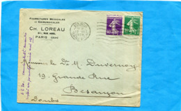 """Lettre-""""cad 1928 Gare PLM Affranchie 2 Timbres Semeuse Dont Le N° 193 Piquage à Cheval - Varietà E Curiosità"""
