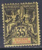 Saint Pierre Et Miquelon N° 76 X , Type Groupe 35 C. Noir Sur Jaune, Trace De Charnière Sinon TB - Unused Stamps