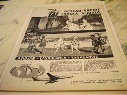 ANCIENNE PUBLICITE FRANCE AFRIQUE TRANSPORT AERIENS TAI 1961 - Advertisements