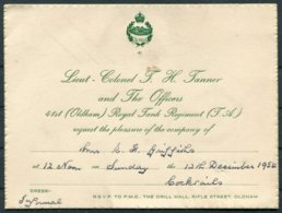 1954 GB 41st (Oldham) Royal Tank Regiment (T.A.) Mrs E.H. Griffiths Party Invitations (2). Town Hall, Drill Hall - Dokumente