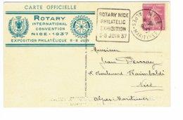 DAGUIN  NICE Exposition Philatelique ROTARY JUIN  1937 Sur Carte Officielle     J41 - Mechanical Postmarks (Other)