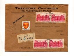 Lettre Recommandée Paris 51 Sur Palais Luxembourg - Cachets Manuels