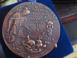 ESPAÑA. MEDALLA CONMEMORATIVA DE LOS 100 AÑOS DE LAS CÁMARAS DE COMERCIO, INDUSTRIA Y NAVEGACIÓN. 1986 - Profesionales/De Sociedad