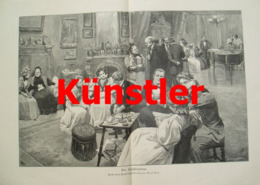 1336 Paul Hey Empfangstag Gesellschaft 42 X 28 Cm Druck 1898 !! - Estampes
