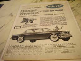 ANCIENNE   PUBLICITE VOITURE EXCLUSIVITE ROOTES MOTOR 1961 - Cars
