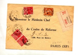 Lettre Recommandée Asnieres Sur Expo Coloniale Semeuse - Postmark Collection (Covers)