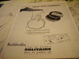 ANCIENNE  PUBLICITE CIRAGE SOLIBRILLE DE SOLITAIRE 1961 - Vintage Clothes & Linen