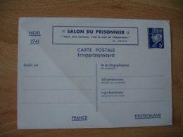 Guerre 39.45 Salon Du Prisonnier Noel 1941 Petain 5 F Entier Postal - Poststempel (Briefe)
