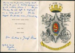 Circa 1959/60 British Army Worcestershire Regiment Christmas Card. Jamaica - Dokumente