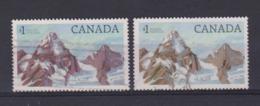 CANADA: Deux Timbres à 1 CAD 'Paysages'  Oblitérés, 2 Nuances 'violet Et Brun-gris' - 1952-.... Règne D'Elizabeth II