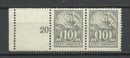 ESTLAND Estonia 1928 Michel 73 Pair With Empty Field Leerfeld MNH - Estland