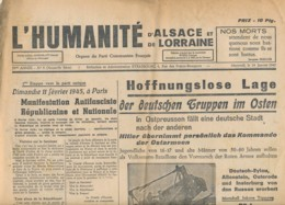 Humanité Alsace Lorraine 1945- B3719-  ( Edition,  Date , Contenu ,  état ... Scan)-Envoi Gratuit - Documents