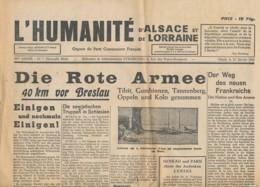Humanité Alsace Lorraine 1945- B3719-  ( Edition,  Date , Contenu ,  état ... Scan)-Envoi Gratuit - Documenten