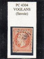 Savoie - N° 16 Obl PC 4304 Voglans (durée 2 Mois, Rarissime S/détaché, Jamais Vu Sur Lettre!!!) - 1853-1860 Napoléon III