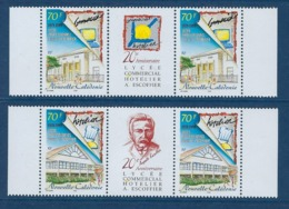 """Nle-Caledonie YT 797 & 798 Paire + Vignette """" Lycée A. Escoffier """" 1999 Neuf** - Nueva Caledonia"""