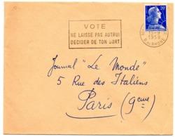 BOUCHES Du RHONE - Dépt N° 13 = AIX En PROVENCE 1958 = FLAMME  SECAP  ' VOTE / NE LAISSE PAS AUTRUI / DECIDER  ' - Marcophilie (Lettres)