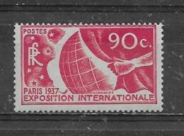 FRANCE  -  Yvert   N° 326 * EXPOSITION INTERNATIONALE DE PARIS - Neufs