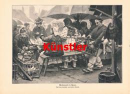 1392 Herbert Arnold Wochenmarkt Agram Zagreb Druck 1903 !! - Prints