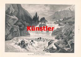 1394-2 Püttner Kerkafälle Dalmatien Gebirge Kistagne Druck 1898 !! - Prints