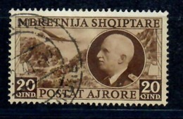 ALBANIA 1939- SERIE ORDINARIA POSTA AEREA 20 Q. RE VITTORIO EMANUELE III - USATO - Albania