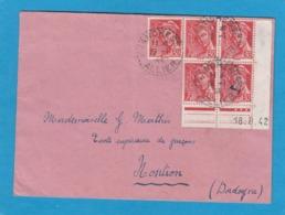LETTRE DE FRANCHESSE POUR NONTRON AVEC 5 TIMBRES Y+T NO 547 ,DONT BLOC DE 4 AVEC COIN DATE. - Cartas
