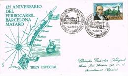34152. Carta Ambulante BARCELONA - MATARÓ 1974. 125 Aniversario Ferrocarril - 1931-Hoy: 2ª República - ... Juan Carlos I