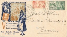 34153. Carta URGENTE MADRID 1953. Centenario Isabel Catolica. Fechadores Urgente - 1931-Hoy: 2ª República - ... Juan Carlos I