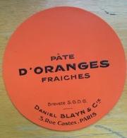 Belle étiquette Orange Vif Pâte Daniel Blayn Rue Castex Paris Oranges Fraîches - Fruit En Groenten