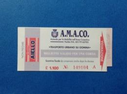 1997 BIGLIETTO DI TRASPORTO AUTOBUS PULMAN BUS AMACO PUBBLICITA CAFFE AIELLO COSENZA - Otros