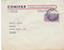 9564-BUSTA PUBBLICITARIA COMIFAR-COOP. MILANESE FARMACISTI-1954 - Pubblicitari
