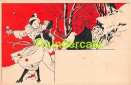 CPA CARTE LITHO PIERROT ET FILLE ILLUSTRATEUR  ( GENRE RAPHAEL KIRCHNER ) PIERROT & GIRL CARD ART NOUVEAU - Illustrateurs & Photographes