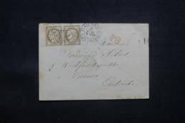 FRANCE - Enveloppe De Paris Pour L 'Autriche En 1875, Affranchissement Cérès 30c En Paire, Oblitération étoile - L 43625 - Marcophilie (Lettres)