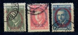 ALBANIA 1927 - 2° ANNIVERSARIO GOVERNO PRESIDENZIALE -3 VALORI USATI - Albania