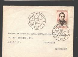 N° 1121 A. Comte / Auguste Comte - Premier Jour Sur Enveloppe - Vers La Belgique - 1957 - FDC